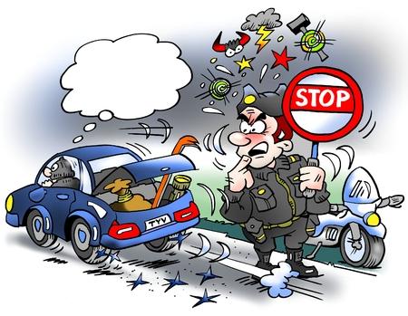 Ilustración de dibujos animados de un ladrón conduciendo sobre las costuras de la fiesta con nuevos neumáticos duros