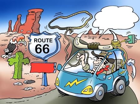 Ilustración de dibujos animados de un feliz farver o vaquero allí conduciendo en un camino rural en los Estados Unidos