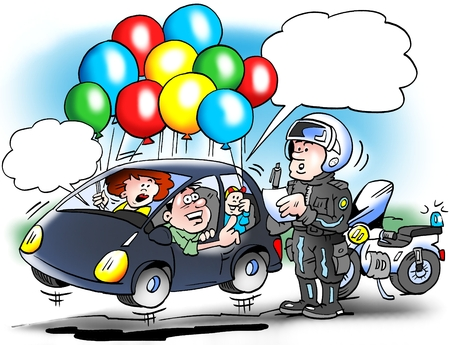 Cartoon illustration of a family car that tries to save on the gasoline, with a light car