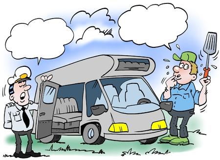 Ilustración de dibujos animados de un hombre que se revisa su camper