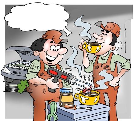 Ilustración de dibujos animados de un mecánico haciendo chocolate caliente con herramientas