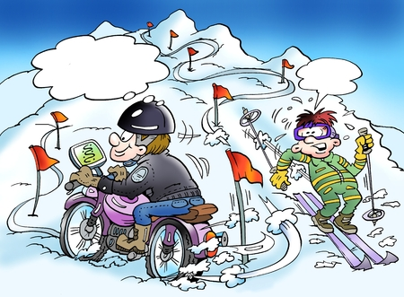 Cartoon illustration of a motorcyclist who is finding a new way through his gps Foto de archivo