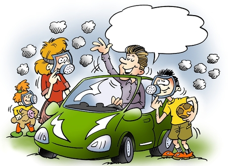 Cartoon illustration of a a family there is equipped with gas masks Stock Photo