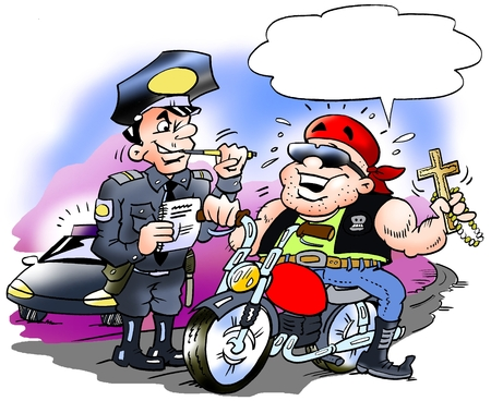 Cartoon illustration of a happy biker there must have a speeding ticket