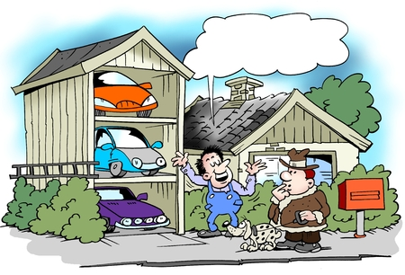 Cartoon illustration of a man who have built the garage specifically for all his cars