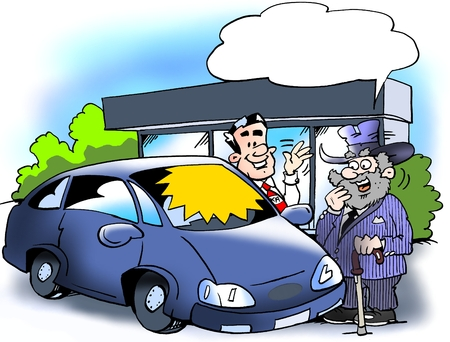 Cartoon illustration of a older man who is considering to buying a new smart car