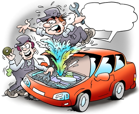 Cartoon illustration of a mechanic who has taken a cover so that the coolant is spraying out