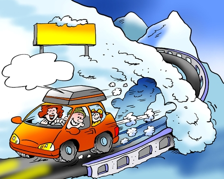 Cartoon illustration of a a family on a road ski trip with brand new winter tires fitted