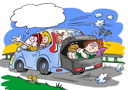 도 여행에 가족의 만화 그림. 수하물 지붕 상자 가방에 배치 된 법에 어머니