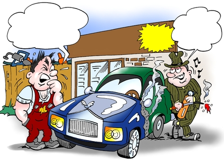 Cartoon illustration of a seller and a buyer looking at an older car that is composed of a new and older car