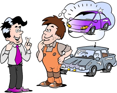 Cartoon Vector illustration of a young man there thinking of buying a new auto car Illustration