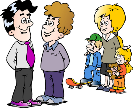 Cartoon Vector illustration of a family man and a businessman