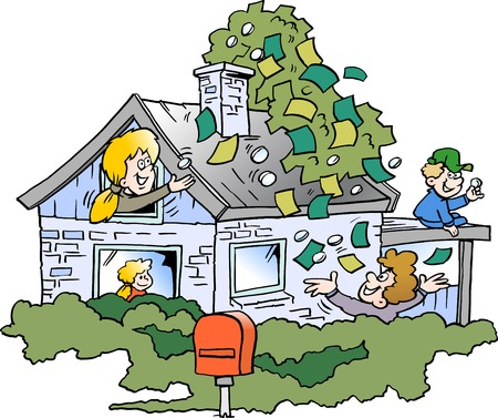 Cartoon Vector illustration of a happy family there has borrowed money in the propertys real estate value Illustration