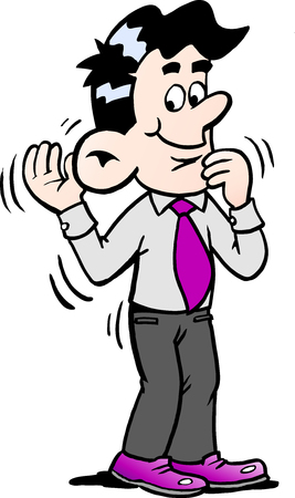 Cartoon illustration of a businessman there is good to listen to the customers needs