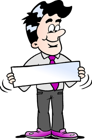 Cartoon illustration of a businessman there is holding a sign