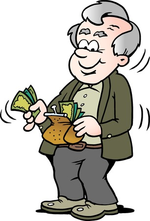 Cartoon Vector illustration of a happy old man taking money out of his wallet Çizim