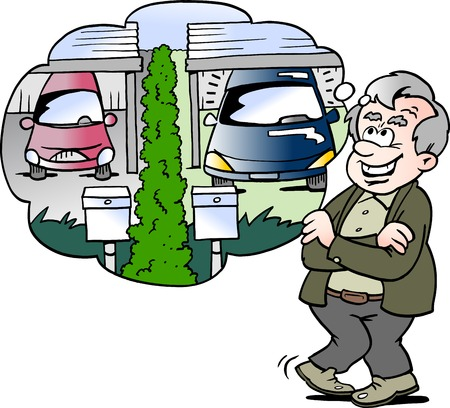 Cartoon Vector illustration of a happy old man compares the car with the neighbor