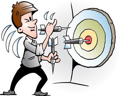 ターゲットをヒットしようとしているビジネスマンのベクトル漫画のイラスト