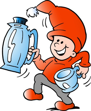 A Vector Cartoon illustration of an happy Elf there runs a pitcher and cup Иллюстрация
