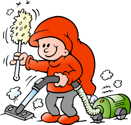 A Vector Cartoon illustration of an happy Elf with a vacuum cleaner Illustration