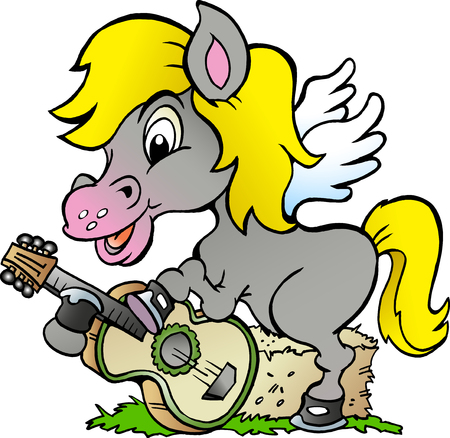 Cartoon Vector illustration of a Pony Hors there is playing on a guitar Illustration