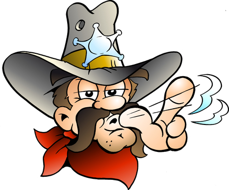Cartoon Vector illustration of an Cowboy Sheriff