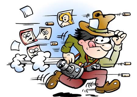 Cartoon Vector illustration of a paparazzi photographer who runs away