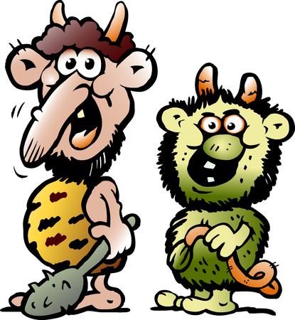 만화 두 재미있는 도깨비 또는 트롤 괴물의 벡터 일러스트 레이 션 일러스트