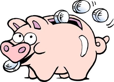 Cartoon Vector illustration of a of a piggy bank Çizim