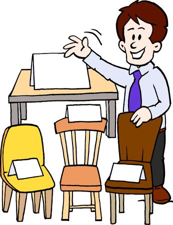 Cartoon furniture seller Çizim
