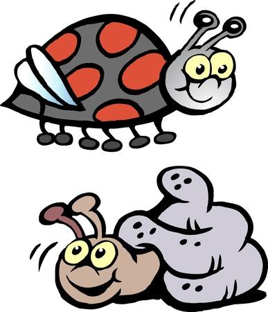 Cartoon Ladybug and Snail Çizim