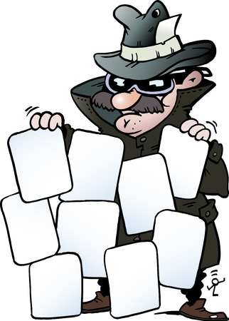 Cartoon Vector illustration of an Agent with some good cards