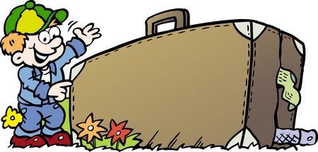 Cartoon Vector illustration of an traveling Boy with his suitcase