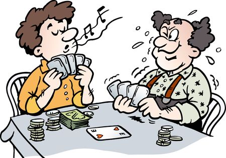 Cartoon Vector illustration of two Men playing Poker Çizim