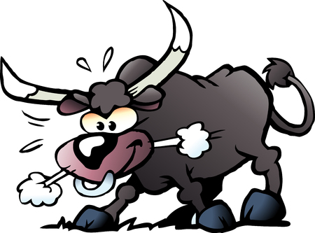Cartoon Vector illustration of a crazy and angry Bull