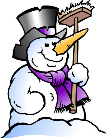 Cartoon vector illustration of a happy snowman.