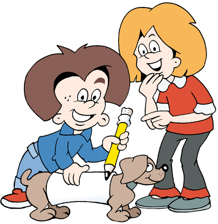 Cartoon vector illustration of two happy children with a family dog. Çizim