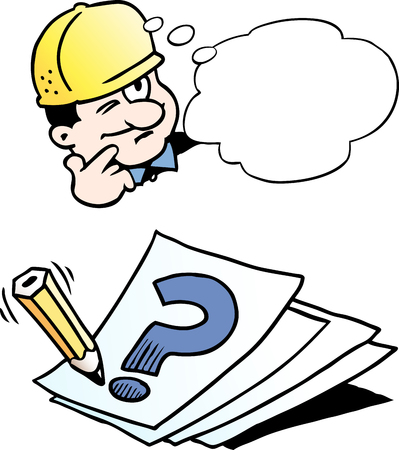 Cartoon vector illustration of a engineer thinking of a solution.