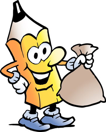 Cartoon vector illustration of a pencil standing and holding a money bag. Çizim