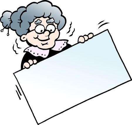 Cartoon vector illustration of a happy grandmother holding a sign. Çizim
