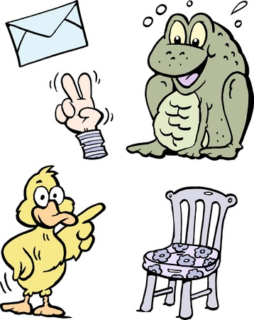 Cartoon vector illustration of a set of funny clip art drawings and icons. Çizim