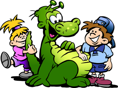 Cartoon Vector illustration of a Dinosaur having fun with Kids