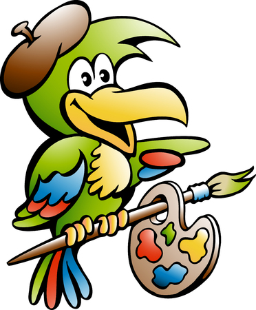 Cartoon Vector illustration of a Parrot Painter Artist