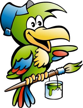 Cartoon Vector illustration of a Parrot Painter Handyman Worker