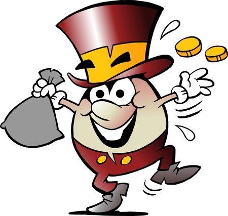Cartoon Vector illustration of a Happy Golden Egg Mascot with lots of Money Çizim