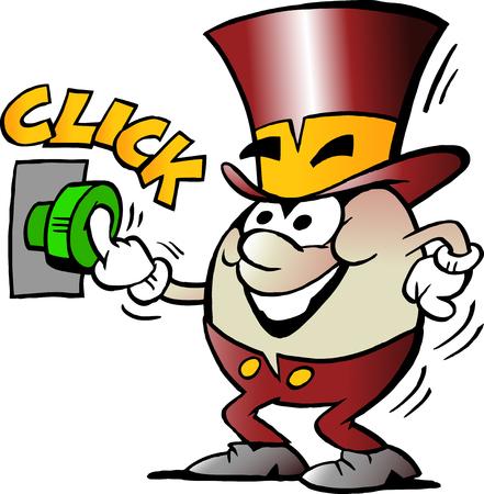 Cartoon Vector illustration of a Happy Golden Egg Mascot activate a Start Button Çizim