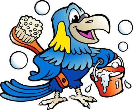Cartoon Vector illustration of an Happy Parrot Cleaner