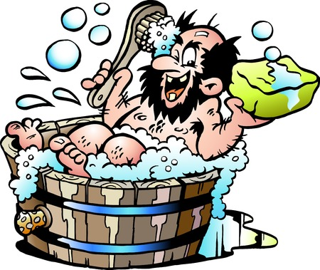 Cartoon Vector illustration of an Old dirty man who wash him selv in a Wooden Bathtub