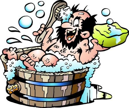Cartoon Vector illustration of an Old dirty man who wash him selv in a Wooden Bathtub Reklamní fotografie - 97419341