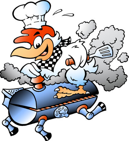Cartoon Vector illustration of an Chef Chicken riding a BBQ grill barrel